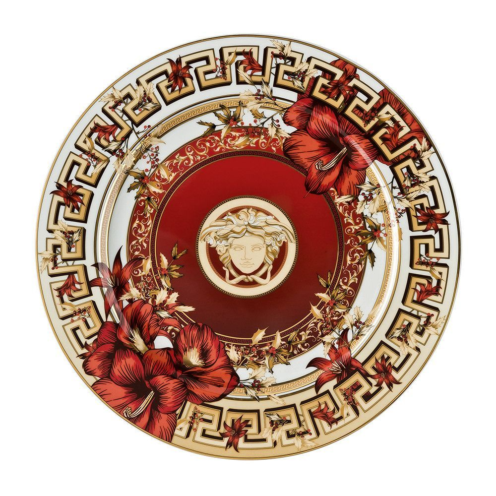 Limited Edition Luxury Christmas Ornaments: Versace Christmas Blooms Service Plate 30cm Limited