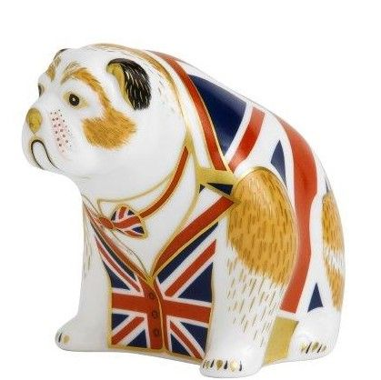 Royal Crown Derby bulldog - union jack Paperweight