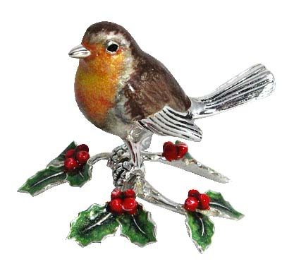 Saturno Sterling Silver Robin on Holly Branch 13195