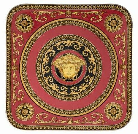 Versace Medusa Red Serving Plate 33cm angular
