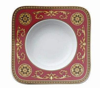 Versace Medusa Red Soup Plate 22cm deep angular