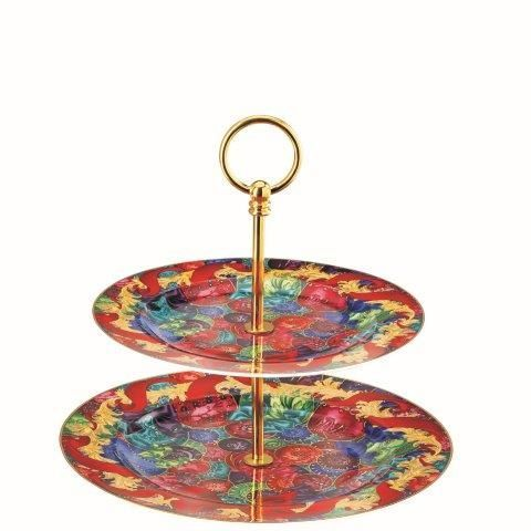Versace Reflections of Holidays 2 Tieried Cake Stand
